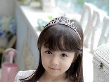 Alloy Rhinestone Flower Girl Tiara Generic Silver Hair Headband Prom Party