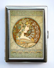 Art Nouveau Goddess Cigarette Case id case Wallet Business Card Holder ivy