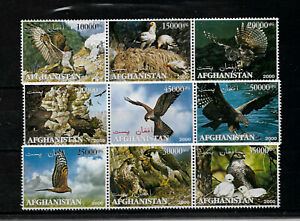 AFGANISTÁN 2000, SERIE 9 VALORES AVES RAPACES.  MNH.