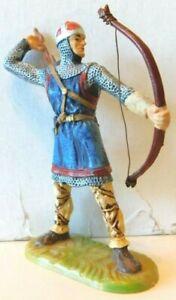 Old PREISER ELASTOLIN 1960s 70mm Plastic, 11th Century English Knight, Bowman