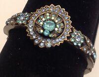 bracelet rigide couleur bronze décor floral tout de cristaux bleu brillance 4011