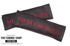 """2x pastillas de cubiertas de cinturón de seguridad de cuero """"Mercedes SLK"""" Bordado Rojo Para MERCEDES"""