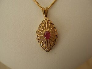 9 CARAT GOLD RUBY & DIAMOND DROP PENDANT NECKLACE MADE IN UK & ITALY LOVELY ITEM