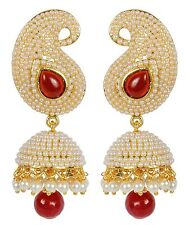 7205 Ethnic Indian Bollywood Style Gold Tone Ruby Indian Pearl Jhumka Earrings
