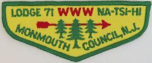 OA Na-Tsi-Hi Lodge 71 Twill Flap GRN Bdr. Mounmouth Council, NJ [TK-360]
