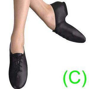 JAZZ DANCE SHOES Black Leather split sole UNISEX (pumps irish hard jig) (CC)