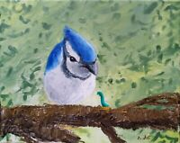 Original Oil Painting of a Blue Jay and Worm Wildlife and Bird Art and Artwork