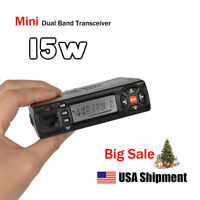 Mini VHF UHF 136-174/400-490MHz 15W Mobile Transceiver Amateur Ham Two Way Radio