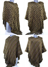 PONCHO Pull Femme REVERSIBLE HAUT GRANDE TAILLE 40 42 44 46 48 VERT PAILLY
