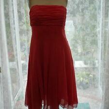 Ladies Strapless Dress 12 Orange Wedding Xmas Party Prom BNWT knee length