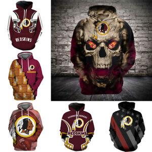 Washington Redskins Hoodie Men's Hooded Pullover Sweatshirt Casual Jacket Coat