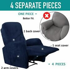 Stretch Recliner Slipcovers Durable Soft Cover Chair Protector with Side Pocket