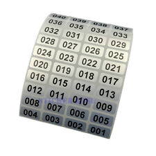 1,000 Labels/Roll Consecutive Sequential Numbering Stickers Silver 20x10mm
