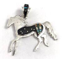 Native American Sterling Silver Navajo Handmade Black Onyx Horse Pendant