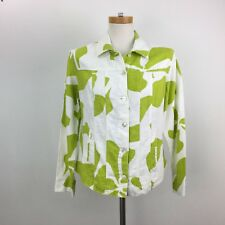 Chicos Jacket Size 0 Small 4 Womens Green White Top 100% Ramie