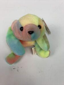 TY Beanie Baby Sammy Rainbow Tie Dye Bear Tag Spacing Errors Gasport Holographic