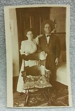 AZO Real Photo Postcard RPPC Taboo May December Couple Romance Marriage ca 1910