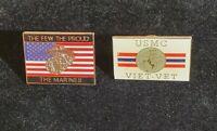 US Marine Corp Lapel Pins Lot of 2 The Few The Proud The Marines Veteran