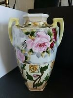 Antique Large Hand Painted Nippon Vase roses