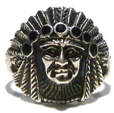 DESIGNER MC AMERICAN INDIAN CHIEF HATCHET AXE ONYX STERLING SILVER RING SIZE 8