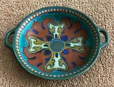 "Vintage Rondo Gouda Holland - 8"" Bowl w/ Handle - Green, Orange, Cobalt, Gold"