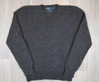 Mens Vintage Polo Ralph Lauren Knitted Lambs Wool Grey Sweatshirt Size XL