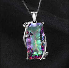 Popular 925 Silver Huge Mystic Rainbow Topaz Pendant Chain Choker Necklace Party