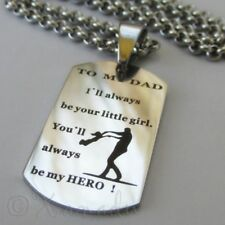 To My Dad Necklace - Message From Daughter On 304 Stainless Steel Pendant