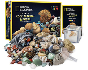 National Geographic Rocks and Fossils Kit 200 Piece Set Includes Crystals, STEM