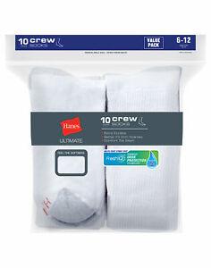 Hanes Socks 10-Pack Crew Men's Cushion Ultimate FreshIQ Breathable Comfort toe