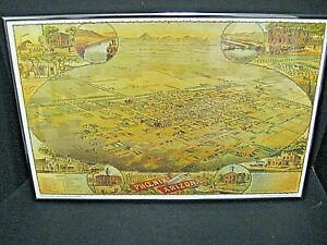 vintage1885 Phoenix Arizona Vintage Old Panoramic City Map framed 14x21