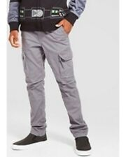 New Boys' Slim Fit Stretch Cargo Pants - Cat & Jack Gray 18H Husky Nwt