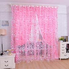 200x100cm Blume Gardinen Fenster Vorhang Voile Tulle Türvorhang Rosa