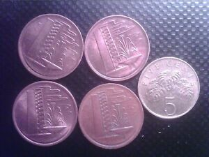 SINGAPORE   1  CENT   1977  1980 1981   1982   5 CENTS 1995     SEP17