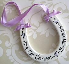 Personalised Handpainted Ceramic Horseshoe Wedding Keepsake Gift Present