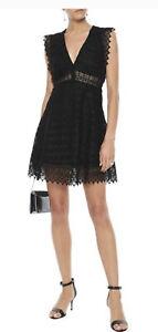 Sandro Paris Lindsey black Crocheted Sleeveless V Neck Lace Dress Size 8-10