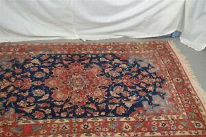 vtg wool oriental carpet area rug 3 ft 7 in x 5 ft red blue bird border vg