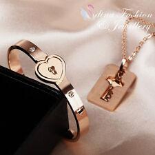 18K Rose Gold Plated Simulated Diamond Love Forever Heart Lock Stylish Set
