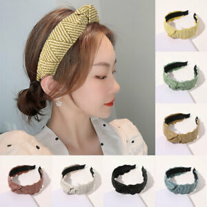 Fashion Gold Lace Hair Hoop Raffia Weaving Straw Women Cross Knotted Headband