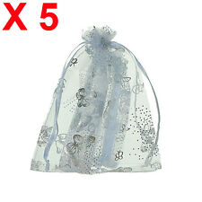 X5 MEDIUM white butterfly organza gift candy bags jewellery favour pouches wrap