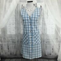 STITCH FIX Skies Are Blue Small Dress Blue White Plaid Sleeveless V Neck B14