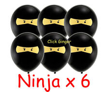 Ninja Latex Balloons x 6 Party Decoration Ninjago Superhero Black