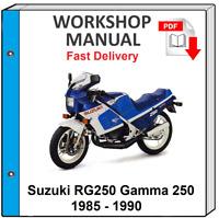 SUZUKI RG 250 GAMMA 250 1985 1986 1987 1988 1989 1990 SERVICE REPAIR SHOP MANUAL