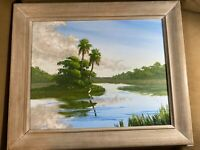 "Douglas E Moore ""Florida River And Landscape  Scene"" Acrylic Painting - Framed"