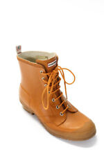 Hunter Womens Lace Up Ankle Rain Boots Brown Size 11 Medium