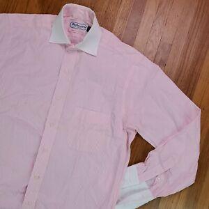 Vintage Burberrys London Men Dress Shirt 15/33 Large French Cuffs Pink Stripe