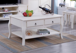 French Style shabby Chic Wooden cream coffee Table Living Room Furniture