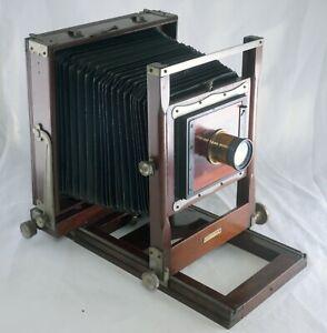 """CONLEY Antique 6""""x8"""" Folding Bellows Wooden Film Camera ROSS LONDON Brass Lens"""