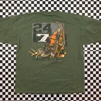 2002 Gildan Hunting Archery Camp Boots Graphic T Shirt Mens XL Green
