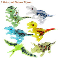 6Pcs Kids Crystal Building Blocks Park Dinosaur World Animal Action Kids Gift